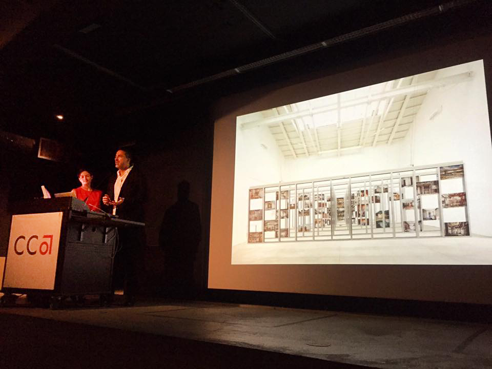 Lorena del Río and Iñaqui Carnicero inaugurating the lecture series at CCA (California College of the Arts)