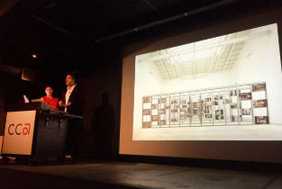 Lorena del Río and Iñaqui Carnicero inaugurating the lecture series at CCA
