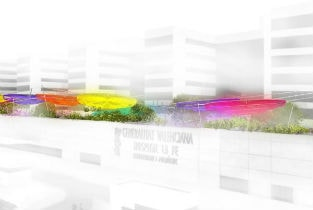 Rica's design for Juegaterapia's playground on the roof of La Fe Hospital in Valencia, Spain breaks ground.