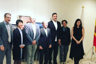 The Spanish ambassador in Tokyo opening the exhibition Unfinished